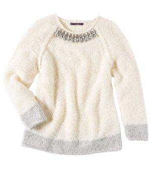 Designer-Pullover mit Alpakawolle und Strass creme NEU