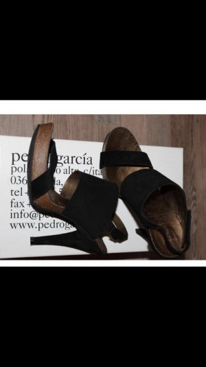 Pedro garcia High Heel Sandal black-pale yellow suede