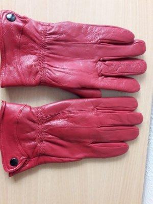DESIGNER'S Damen Warm Handschuhe ROT Gr. 8,5 100% Leder