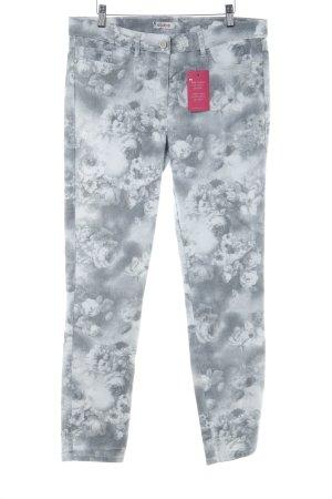 DESIGNER'S Slim Jeans hellgrau-weiß florales Muster Casual-Look