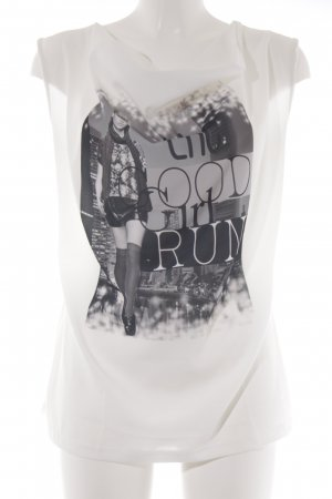 DESIGNER'S Cowl-Neck Shirt white themed print urban style