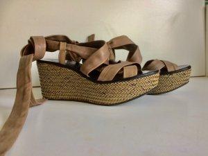 Sandalo con plateau beige Pelle