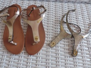 Designer Schuhe Zehentrenner ein Paar 2 Modelle Gold u. Kroko Gr. 38 echt Leder.