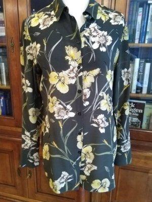 Designer Seidenbluse 100% Seide Chiffon mit Orhideen von St.Emile