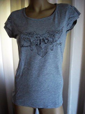 Designer Shirt von   RICH & ROYAL   grau   gr L  mit Strass Elementen