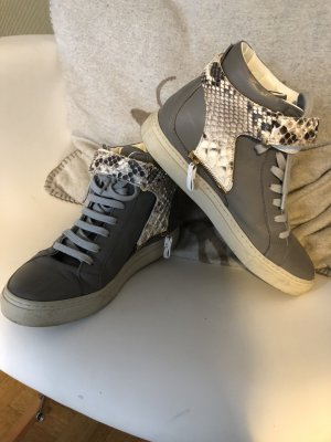 Designer Sneakers mit abnehmbarer Lasche grau Echtleder Gr 37 High Top Dare 2b
