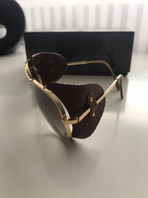 Designer Sonnenbrille von Giorgio Armani, Pilotenbrille mit abnehmbaren Lederkappen