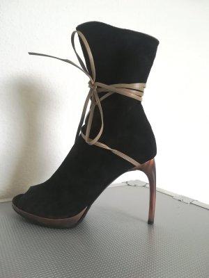 Les Tropéziennes Peep Toe Booties black leather