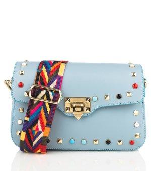 Designer Tasche blau Nieten Boho Hippie Leder