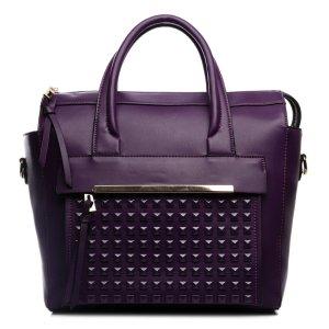 Shopper brown violet imitation leather