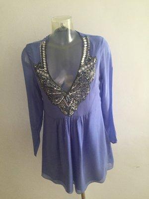 Aftershock London Blusa de túnica color plata-púrpura