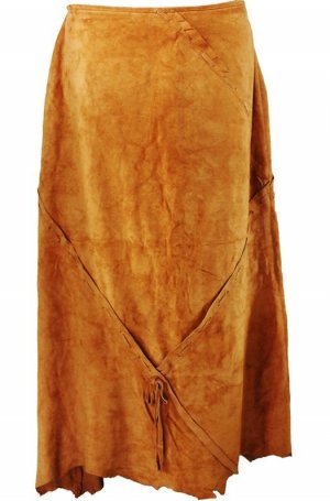 Atos Lombardini Leather Skirt cognac-coloured leather