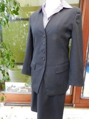 Designer Wear Damen Kostüm-anthrazit/hellgrau-Gr.36-ungetragen-reine Schurwolle