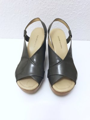 Costume National Wedge Sandals grey brown leather