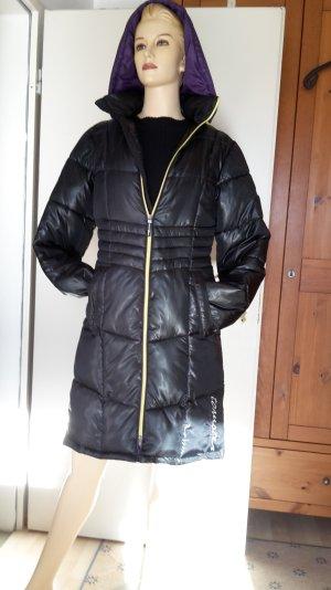 #Designer-#Winter #Steppmantel mit Kaputze, #schwarz, glänzend, Gr 34,