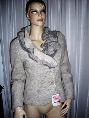 Designer  WOLLE Blazer Made in Italy  Gr 40 - 42 XL  beige  exclusive  NEU  229  Euro