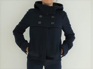 BCBG Maxazria Pea Jacket dark blue wool
