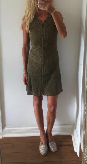 Hoss Intropia Leather Dress khaki suede