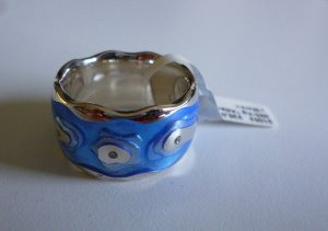 Anillo de plata azul neón-color plata plata verdadero