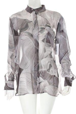 Designers remix collection Blusa in seta grigio-nero motivo astratto