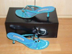 Manolo Blahnik High-Heeled Toe-Post Sandals multicolored leather