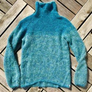 Designerstück! Petrolgrüner Pullover mit Farbverlauf Grösse S