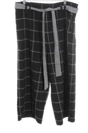 Desigual Pantalón pirata negro-gris estampado a cuadros elegante
