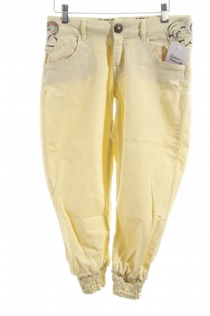 Desigual 3/4 Jeans blassgelb Stickereiverzierung