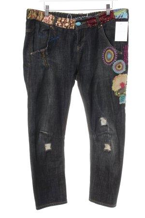Desigual 3/4 Jeans dunkelgrau-goldfarben extravaganter Stil