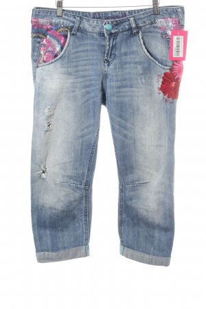 Desigual 7/8-jeans lichtblauw-blauw Patroon-mengeling casual uitstraling