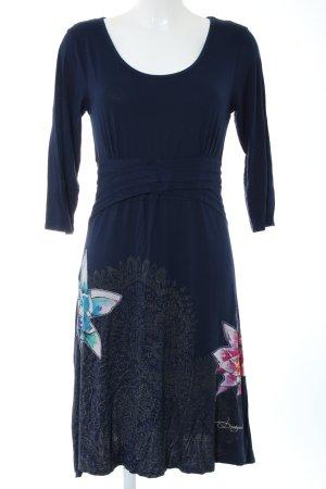 Desigual A-Linien Kleid blau Blumenmuster Casual-Look