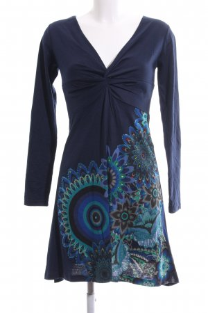 Desigual A-Linien Kleid blau Motivdruck Casual-Look