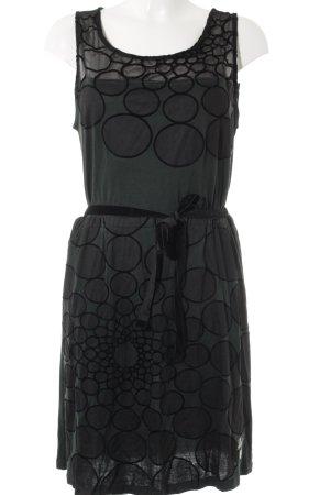 Desigual A-Linien Kleid schwarz-dunkelgrün Punktemuster Casual-Look