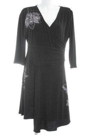 Desigual A-Linien Kleid schwarz-hellgrau florales Muster extravaganter Stil