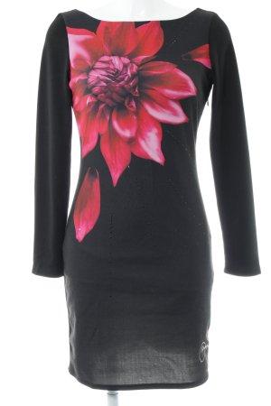 Desigual A-Linien Kleid schwarz-rot florales Muster Casual-Look