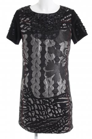 Desigual A-Linien Kleid schwarz-silberfarben abstraktes Muster