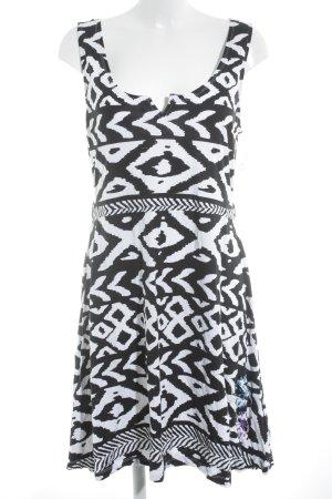 Desigual A-Linien Kleid schwarz-weiß abstraktes Muster schlichter Stil