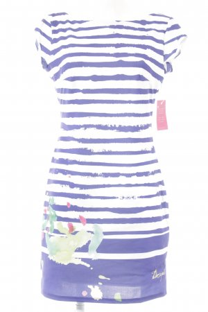 Desigual A-lijn jurk wit-blauw gestreept patroon casual uitstraling