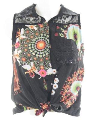 Desigual ärmellose Bluse schwarz abstraktes Muster Casual-Look