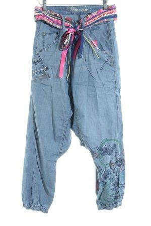 Desigual Pantalón abombado azul-rosa estampado con diseño abstracto