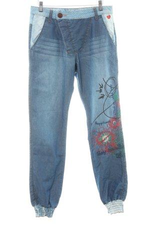 Desigual Pantalón abombado azul acero-azul claro estampado floral look casual