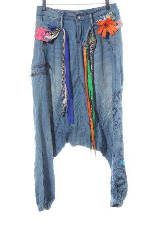 Desigual Vaquero holgados azul pálido estampado floral estilo hippie
