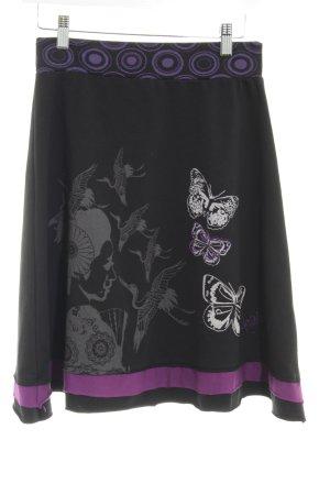 Desigual Ballonrok zwart-lila prints met een thema casual uitstraling