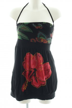 Desigual Bandeau top zwart-rood bloemenprint casual uitstraling