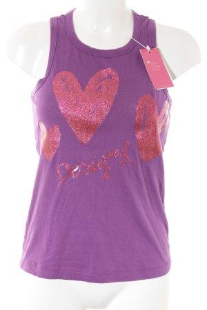 Desigual Basic Top violett-magenta Herzmuster sportlicher Stil
