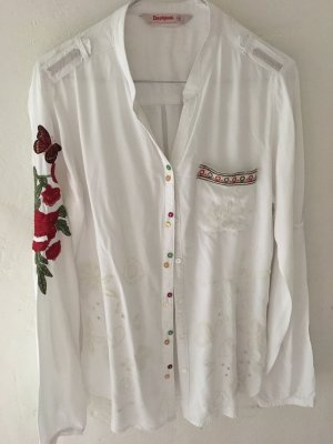Desigual Stand-Up Collar Blouse white-brick red