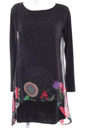 Desigual Blusenkleid schwarz florales Muster Casual-Look
