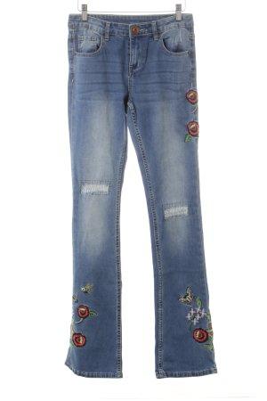 Desigual Boot Cut Jeans florales Muster Jeans-Optik