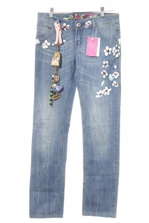 Desigual Boot Cut Jeans stahlblau Blumenmuster Washed-Optik
