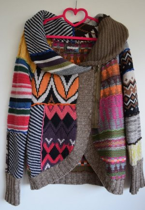 Desigual Coarse Knitted Jacket multicolored mixture fibre